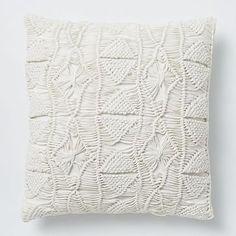 Macrame Diamond Pillow Cover - Stone White #westelm