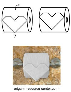 This toilet paper origami heart looks simple to make but there are a few tricky steps.  You need to make the folds exactly the same  to get a symmetrical heart which is not lopsided or skewed.