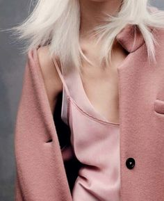 bleach blonde in a pink coat & pink layered cami #style #fashion #hair