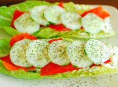 Smoked Salmon on Romaine Lettuce
