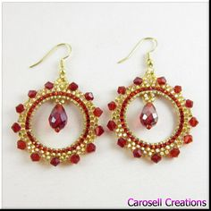 Crystal Hoop Seed Bead Earrings Beadwork in Red and Gold TAGS - Jewelry, Earrings, Beaded, carosell creations, gold, red, hoops, hoop earrings, beadwork, seed bead earring, earrings, seed beaded, crystals, seed bead, beaded, glamour, boho, accessories, ladies, women, fashion, etsy, handmade
