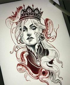 #nena Neo Tattoo, Dark Art Tattoo, Tattoo Drawings, Art Drawings, Tattoo Flash, Tattoo Ink, Neo Traditional Art, Traditional Tattoo Old School, Traditional Tattoo Woman