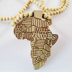 Wish I had this!  Map of Africa Pattern Wooden Necklace