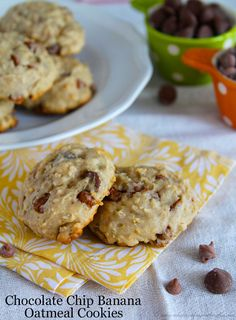 Chocolate Chip Banana Oatmeal Cookies are the perfect recipe to use up those over-ripe bananas! by www.whatscookingwithruthie.com #recipes #cookies