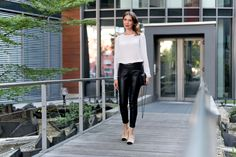 Outfit: 'White Silk Blouse and Black Leather Pants' | Mood For Style - Fashion, Food, Beauty & Lifestyleblog