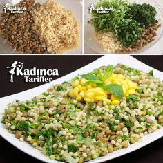 Kuskuslu Yeşil Mercimek Salatası Tarifi