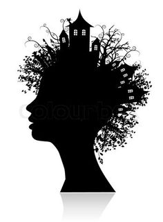Idea:  With a partner, students trace profile portrait using a strong light onto drawing paper, then instead of trees & bldgs. they use objects that illustrate personal interests.