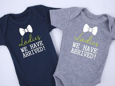 Baby Shower Twins Ladies We Have Arrived Twin Boy by BabyBodysuits