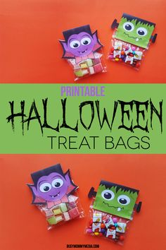 These printable Halloween Treat Bags are perfect for a school Halloween party or to hand out to trick-or-treaters if you want to get a bit creative. Halloween Class Party, Halloween School Treats, Halloween Arts And Crafts, Halloween Treat Bags, Diy Halloween Costumes, Diy Halloween Decorations, Halloween Kids, Halloween Projects, Free Printables