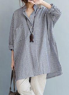Tartan Cotton Collar Long Sleeve Blouses (1156194)