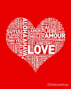 I Heart Love - Romantic Love Languages Poster in 8x10 inch on A4 (in RED)