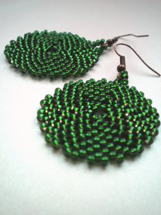Emerald seed bead earrings