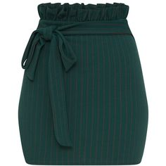 Forest Green Pinstripe Paperbag Mini Skirt ($18) ❤ liked on Polyvore featuring skirts, mini skirts, short green skirt, short skirts, pinstriped skirts and paperbag skirts