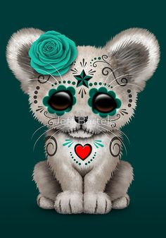 «Teal Blue Day of the Dead Sugar Skull White Lion Cub» de Jeff Bartels