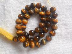 Smooth Beads Round Tiger Eye Natural Gemstone Loose Making Strand 7mm Jewelry #Unbranded Tiger Eye Beads, Natural Gemstones, Smooth, Beaded Bracelets, Eyes, Jewelry, Bijoux, Jewlery, Jewels