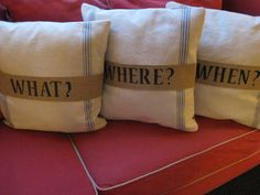 Set of 3 Upcycled Vintage Grain Sack Pillows by SublimeSurprises, $100.00