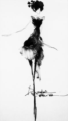 Fashion Sketch - beautifully elegant, black & white fashion illustration