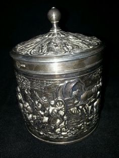 Silverplated Repousse Douwe Egberts Dutch Tea Caddy Herbert Hooijkaas Mark HH90 | eBay