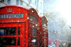 cherry red telephone booth in London covered by snow flurries London Snow, London Winter, London Rain, London Spring, London Calling, Barbados, Before I Die, Land Scape, Storyboard