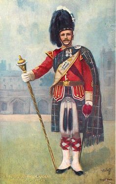 Seaforth Highlanders, Drum-Major, Post card first issued appearing in Tuck's postcard catalogue Military Art, Military History, Army Uniform, Military Uniforms, British Uniforms, Drum Major, Neil Armstrong, Highlanders, Celtic Designs