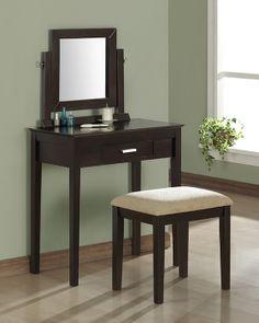 Monarch 1363 - Cappuccino Oak Veneer 2 Pieces Vanity Set/ Beige Chenille | Sale Price: $261.00