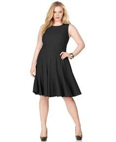 Calvin Klein Plus Size Dress, Sleeveless Pleated A-Line