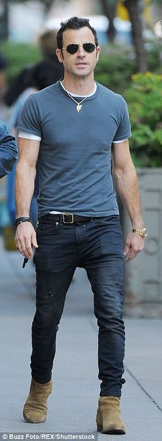 Justin Theroux, 44, wears his skinny jeans with pride