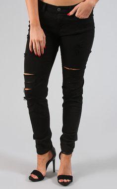 biker babe distressed black skinny jean