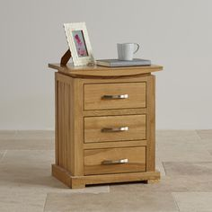 The Tokyo Natural Solid Oak Nightstand is a charming little piece that gracefully flaunts its Japanese-inspired design. Oak Nightstand, 3 Drawer Bedside Table, Wooden Bedside Table, Bedside Tables, Oak Furniture Land, Bedroom Furniture, Dovetail Drawers, Solid Oak, Hardwood
