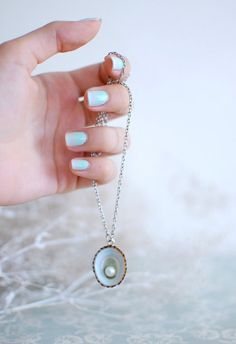 Sea shell jewelry pearl in the blue limpet by Goodthingsjewelry
