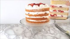 "Strawberry Tall Cake is amazingly delicious & completely gorgeous. Well, a true strawberry ""shortcake"" is more like a biscuit than a cake. Strawberry Juice, Strawberry Shortcake Recipes, Strawberry Recipes, Strawberry Sponge Cake, Strawberry Vanilla Cake, Blackberry Cake, Vanilla Sponge Cake, Tall Cakes, Sponge Cake Recipes"