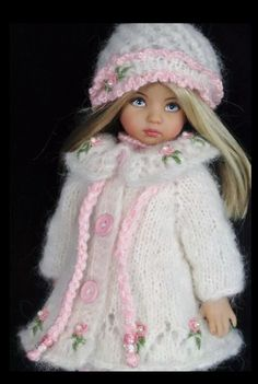 Handknit Mohair Coat, dress set made for Effner little darling dolls