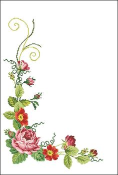 Yogurtcu Cross Stitch Borders, Cross Stitch Rose, Cross Stitch Flowers, Cross Stitch Charts, Cross Stitch Designs, Cross Stitch Embroidery, Embroidery Patterns, Black And White Flower Tattoo, Boarder Designs