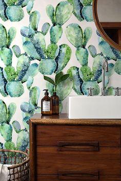 Acuarela Cactus fondos impresionante fondo de pantalla extraíble / autoadhesivo papel pintado / cactus patrón revestimiento - 129 por Betapet