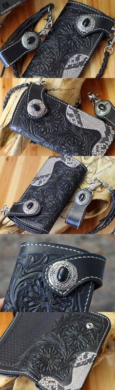 Handmade biker wallet black leather floral carved biker wallet chian b | EverHandmade