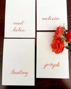Thanksgiving place cards, personalized, fall name place seating, calligraphy, fall wedding place cards, Friendsgiving table setting, orange place  cards   #papergoods #orange #thanksgiving #placecard #thanksgivingcard #thanksgivingseating #friendsgiving #thanksgivingtable Got Married, Getting Married, Thanksgiving Place Cards, Wedding Place Cards, Paper Goods, Wonderful Time, Fall Wedding, Place Card Holders, Calligraphy