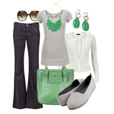 work clothes - I like the dark grey, light grey, and white together.. any pop of color would work besides green