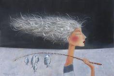 Something Fishy ll Kate Smith, Manchester England, Big Fish, Whimsical Art, Cute Illustration, Portrait, Beautiful Paintings, Figurative Art, Mixed Media Art
