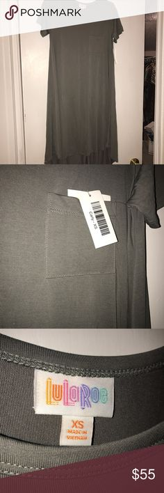 BNWT lularoe XS Carly dress gray modal fabric BNWT lularoe XS Carly dress beautiful gray in coveted modal fabric - gorgeous and soft. High low tee shirt dress with breast pocket. Perfect for a casual day or work, but also can be dressed up for a night out! Due to its generous sizing, can be styled many ways! So versatile! LuLaRoe Dresses Midi