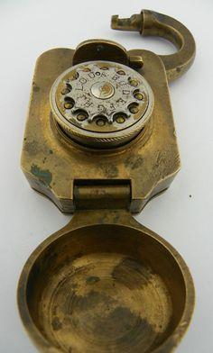 Early rotary combination lock. No key needed.