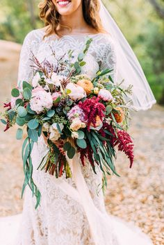 wild floral bouquet - photo by Cara Robbins Photography http://ruffledblog.com/floral-inspired-treehouse-wedding