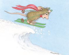 """Ski Mouse"" from House-Mouse Designs®. This image was recently purchased as a package of 8 Christmas Cards. Click on the image to see it on a bunch of other really ""Mice"" products."