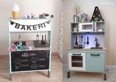 Ikea Kids Kitchen, Ikea Kitchen Remodel, Diy Play Kitchen, Ikea Duktig, Ikea Toys, Ikea Makeover, Kids Play Spaces, Toddler Playroom, Playroom Decor