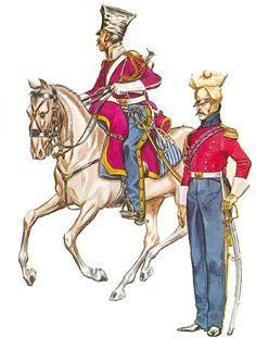 • Trumpeter, 3rd Lancers, Imperial Guard, campaign dress , 1812 • 'Lieutenant-Sous-Adjutant-Major', 2nd (Dutch) Lancers, Imperial Guard, campaign dress, 1812