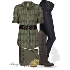 Olive green flannel shirt, skinny jeans and knee-high riding boots