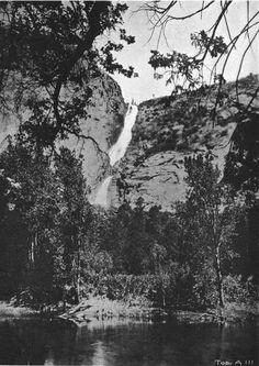 Wapama Falls from Hetch Hetchy valley floor, before the dam