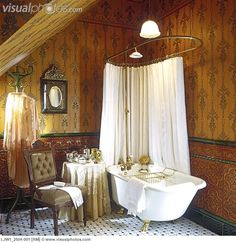 Gentil BATHROOMS: Victorian Deep Tub Gilded Claw Feet Glazed Spanish Tile Dado  Emperor Wallpaper Upholstered Chair Old Style Brass Shower Tile Floor  Pendant ...