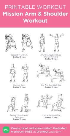 Mission Arm & Shoulder Workout: My individually printable workout from Workou . - Mission Arm & Shoulder Workout: My individually printable workout from WorkoutLabs …, - Arm Day Workout, Biceps Workout, Fat Workout, Chest Workout Women, Fitness Workout For Women, Shoulder Workout Women, Back And Shoulder Workout, Lifting Workouts, Gym Workouts