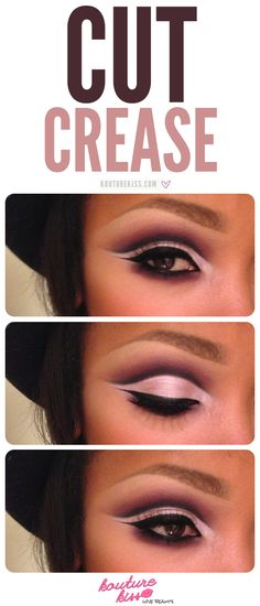 PIN ALL THE MAKEUP IDEAS FROM THIS BOARD! Cut Crease - We're seeing the cut crease slowly start to take over the Internet in the makeup scene… looks hard, huh? Here's a simplified version of a purple cut crease! Kiss Makeup, Love Makeup, Makeup Looks, Hair Makeup, Makeup Ideas, Makeup Quiz, Makeup Names, Makeup Course, Makeup Tricks