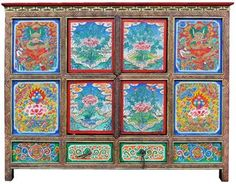 Antique Tibetan Furniture Buddhist Offering Cabinet With Dharma Wheel  Ashoka Blossoms And Dragons Circa 1700